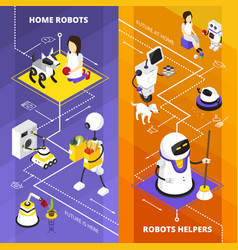robots helpers vertical isometric banners vector image vector image