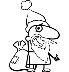 santa with sack coloring page vector image vector image