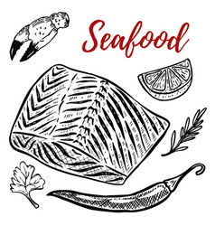 Seafood salmon meat lemon spices design elements vector