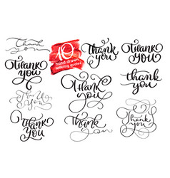 set of ten hand written calligraphy lettering vector image