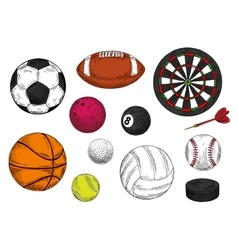 Sporting balls dartboard and hockey puck sketches vector