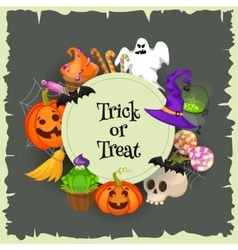 Trick or treat Halloween poster background card vector image vector image