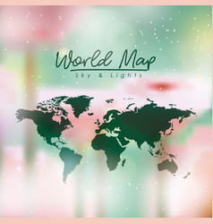 world map in green color and multicolor opacity vector image