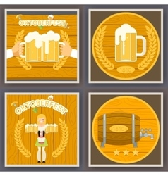 Oktoberfest poster set festival celebration symbol vector