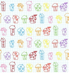 Hand drawn houses seamless pattern childish vector