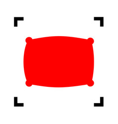 Pillow sign   red icon inside vector