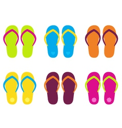 Colorful flip flop collection isolated on white vector image