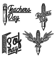 Vintage teachers day emblems vector