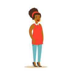 Casual african american girl in casual clothes vector