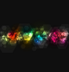 colorful geometric hexagons tech background vector image