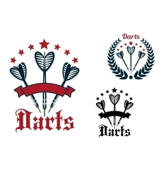 Darts game sporting icons and emblems vector