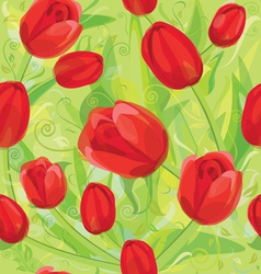 Seamless pattern of tulips vector