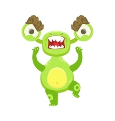 Angry funny monster pissed off green alien emoji vector