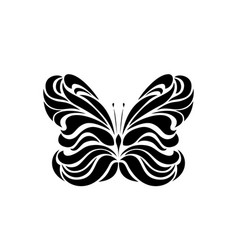 black logotype of butterfly isolated on white vector image