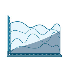 Blue shading silhouette of statistic graphic in vector