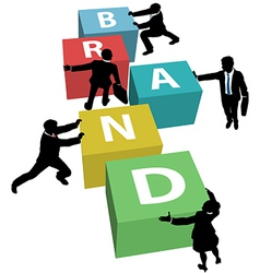 Business people build company brand plan vector image