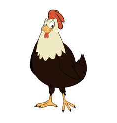 cartoon hen bird farm domestic animal vector image
