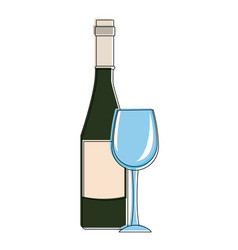 Champagne bottle and cup vector