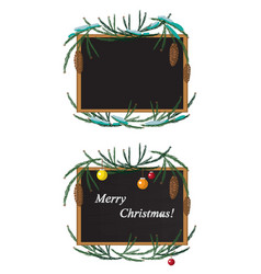 christmas wreath and black board with chalk vector image