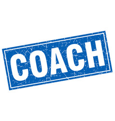 Coach blue square grunge stamp on white vector
