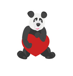 Cute panda holding a heart vector