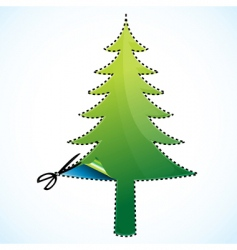 cutting of Christmas tree vector image