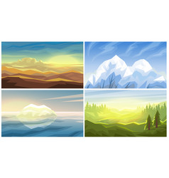 Desert iceberg forest mountains landscape vector