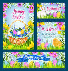 Easter eggs in grass greeting banner template vector