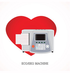 Ecg or ekg machine with an integrated printer vector