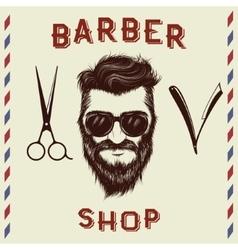 Emblem for barber shop design vector