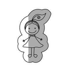 Figure happy girl with one tail icon vector