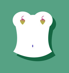 flat icon design boobs and strawberry in sticker vector image vector image