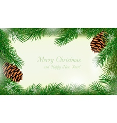 Frame made of christmas tree branches with pine vector