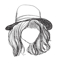 Hand drawn hair girl in the hat vector