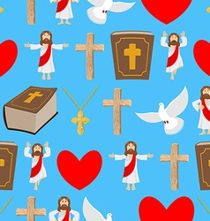 Holy background biblical seamless pattern jesus vector