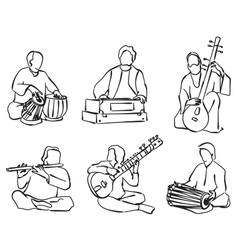 Indian musician set vector image vector image