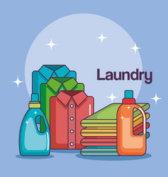 Laundry bottle soap pile cloth and folded shirt vector