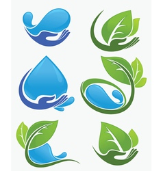 Leaves water and hands vector