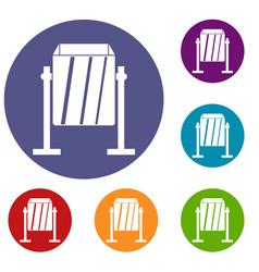 Metal dust bin icons set vector