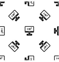 Monitor with einstein formula pattern seamless vector