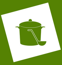 Pan with steam sign white icon obtained vector
