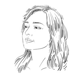 Portrait of attractive pensive woman thinking vector