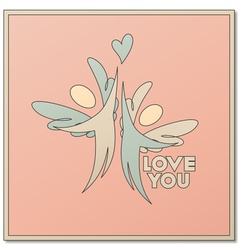 Romantic design with two angels vector image vector image