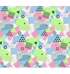 Seamles pattern in memphis style with geometric vector