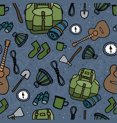 Seamless pattern of camping equipment black vector