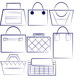 Set of outlined woman handbags vector