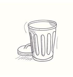 Sketched empty trash bin desktop icon vector image
