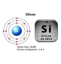 Symbol and electron diagram for silicon vector