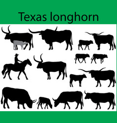 texas longhorn cattle silhouettes vector image