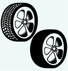 Tyre wheels automobile vector image